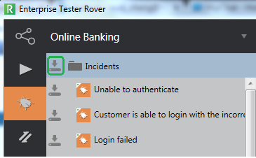 Creating Incidents During Offline Testing - select all incidents in a folder